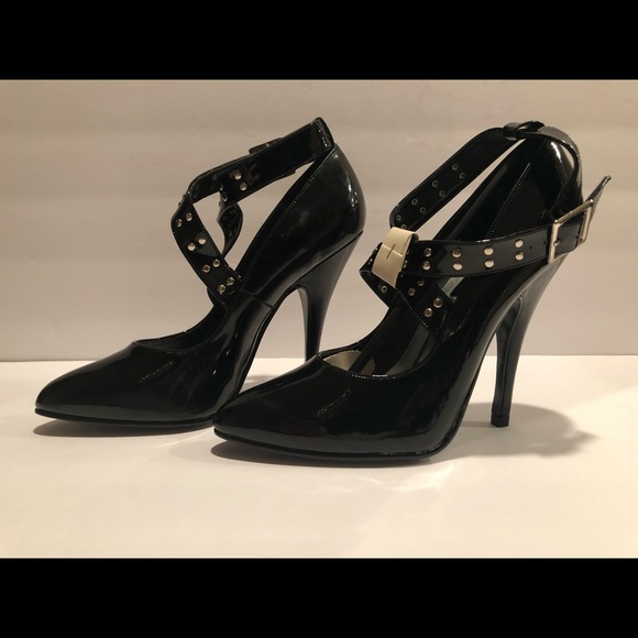 "0ddfe99385d 5"" Black Patent Cross Buckle Pump Boutique"